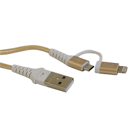 Cable múltiple Micro Usb y Iphone cuerda 1,5 metros