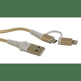 Cable múltiple Micro Usb y Iphone cuerda 1,5 metros
