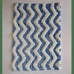 Alfombra piso baño azul blanco casaideas