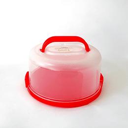 Contenedor para torta con tapa base roja