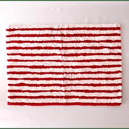Alfombra baño blanca/roja50x70