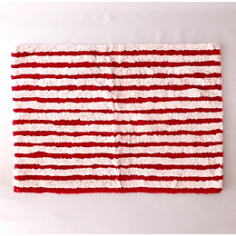 Alfombra baño blanca/roja50x70 casaideas