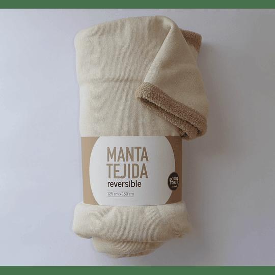 Manta Tejida Reversible Beige