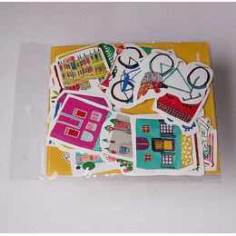 Set 28 Stickers Casas y Viajes