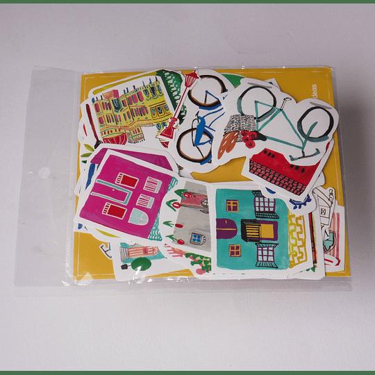 Set 28 Stickers Casas y Viajes