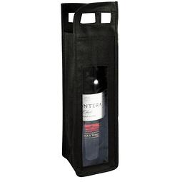 Bolsa Ecológica para 1 botella de vino, con ventana frontal de PVC clear, 100% reciclable y reutilizable, con mangos