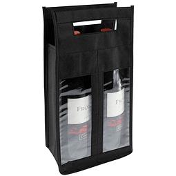 Bolsa Ecológica para 2 botellas de vino, con ventanas de PVC clear, 100% reciclable y reutilizable, con mangos