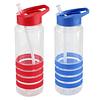 Botella deportiva, de plástico rígido traslúcido Tritan con 4 anillos de silicona de color.