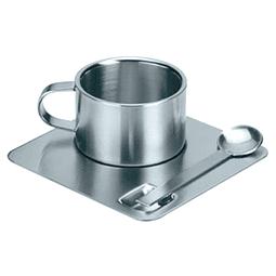 Coffe Set modelo, 100% Acero Inoxidable. Incluye taza, plato y cuchara.