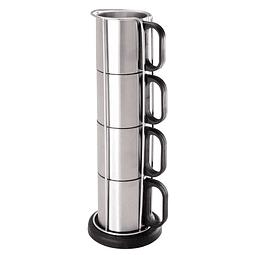 Set Torre Metálica con 4 tazas de Acero Inoxidable, con base plástica redonda negra.