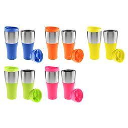 """Coffee Mug grande de 470 ml plástico """"PP-FRESH"""", tapa rosca y banda de Acero Inoxidable ideal para imprimir logos."""