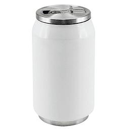 """Botella Térmica Blanca de doble pared aislante modelo """"Can"""", interior de acero inoxidable. Base y Tapa rosca metálica con dosificador."""