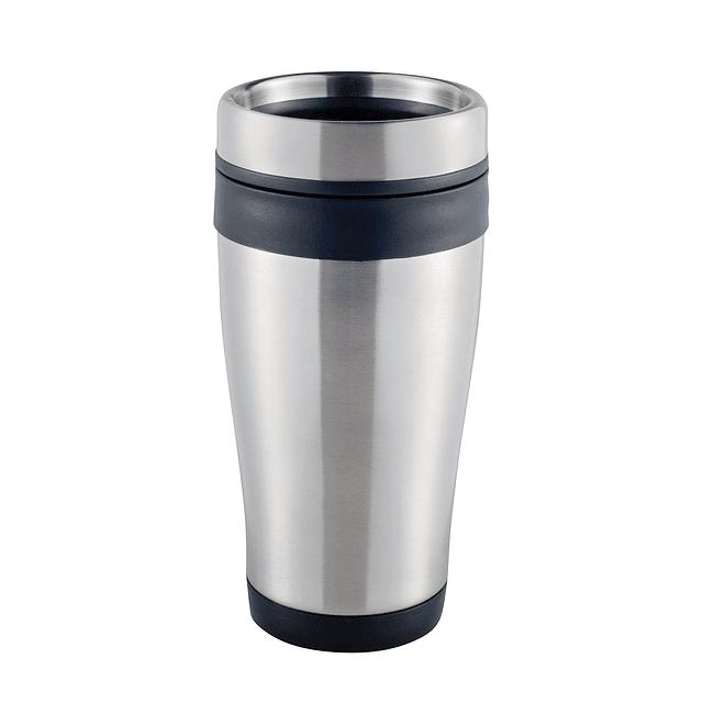 Capacidad 380 ml. Interior plástico y exterior metal.