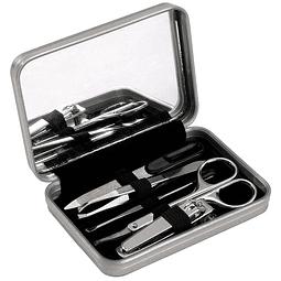 Set de Viaje y Manicure en Caja Metálica con Espejo y cierre imantado.