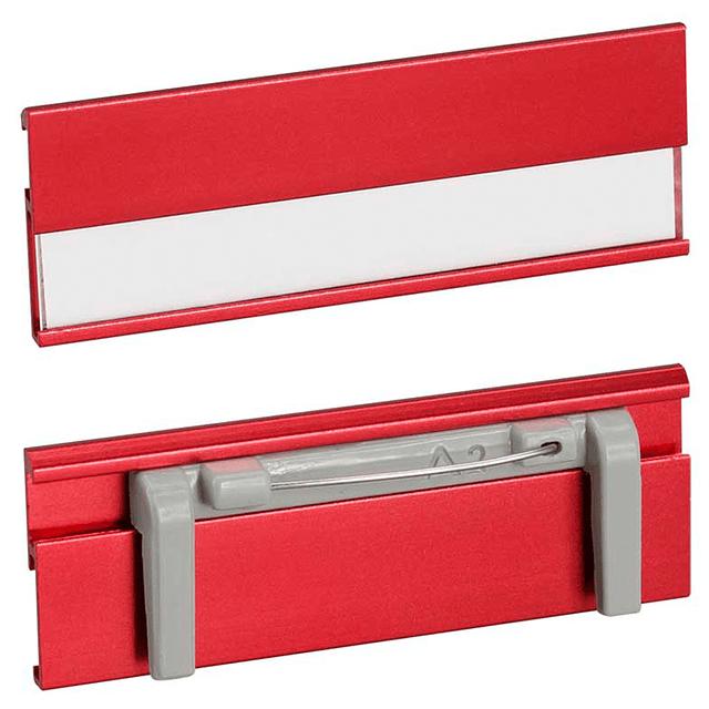 Identificador de Aluminio, con ventana para insertar nombre-cargo-empresa.