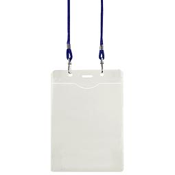 Porta-Credencial Grande de PVC Clear, incluye cordón azul para colgar.