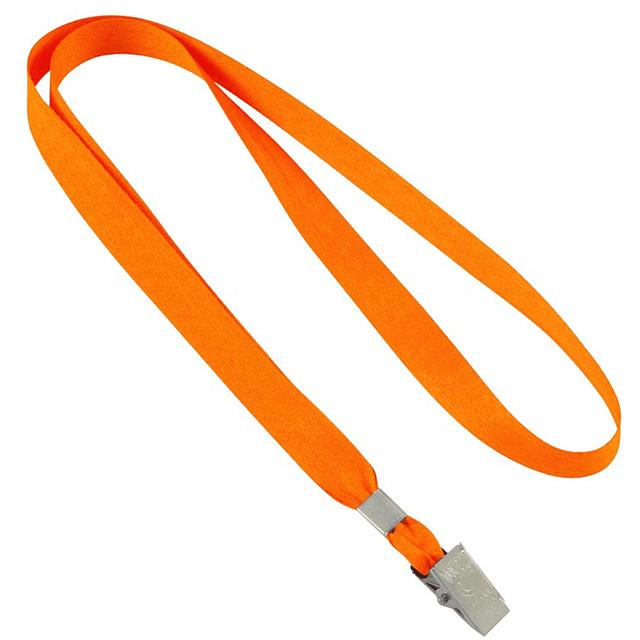 Lanyard Porta-Credencial clásico de polyester liso de 1.5 cm de ancho para sublimación, con terminal pinza metálica