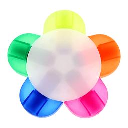 """Multidestacador modelo """"Flower"""" con 5 destacadores de colores."""