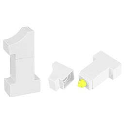 """Destacador amarillo """"N°1"""", cuerpo plástico blanco"""