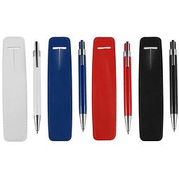 Bolígrafo Metálico de color, con funda de simil cuero al tono. Escritura Azul