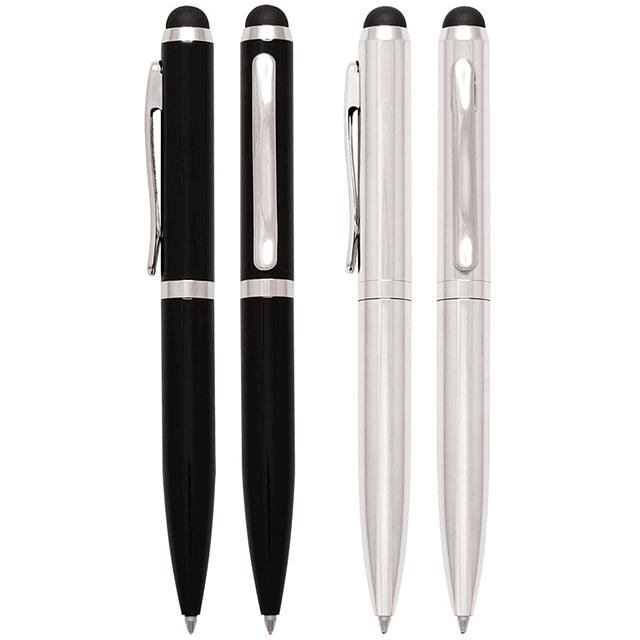 """Bolígrafo Metálico, con goma posterior negra """"Touch-Screen"""" para pantalla táctil. Escritura negra."""