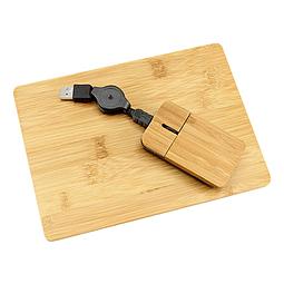 Set Mouse + Pad de Bamboo
