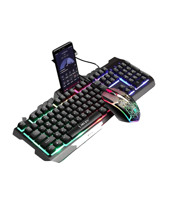 Pack Teclado porta celular + Mouse Gamer Negro