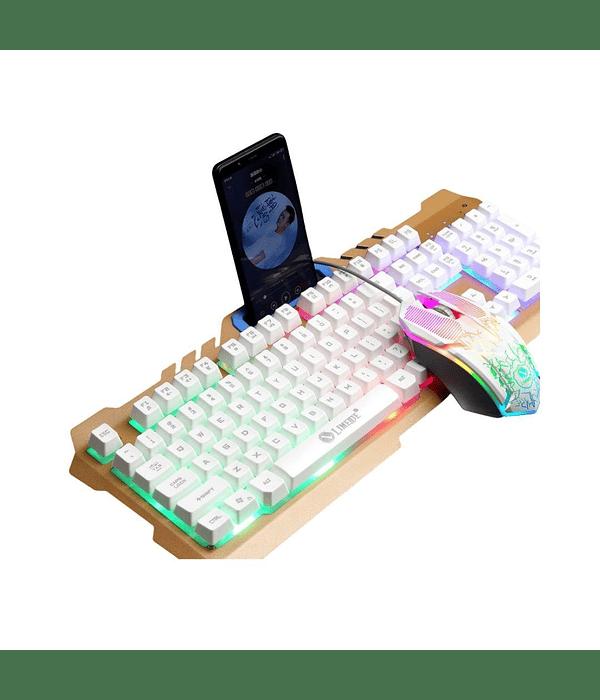 Pack Teclado porta celular + Mouse Gamer Dorado