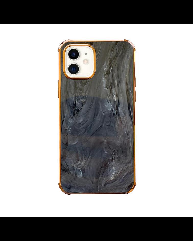 Carcasa iPhone 11 Mármol Negro Borde Dorado