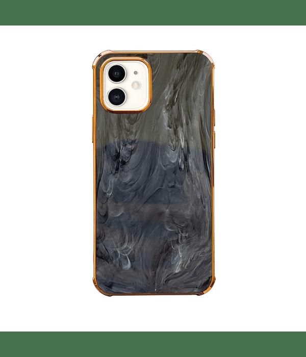Carcasa iPhone 12 Pro Max Mármol Negro Borde Dorado
