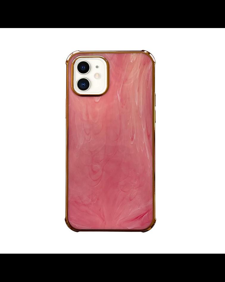 Carcasa iPhone 12/12 Pro Mármol Rosado Borde Dorado