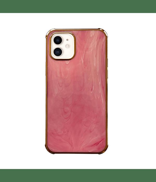 Carcasa iPhone 12 Pro Max Mármol Rosado Borde Dorado