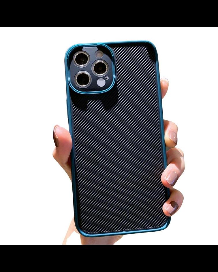 Carcasa iPhone 12 PRO MAX Textura Resistente Borde Verde