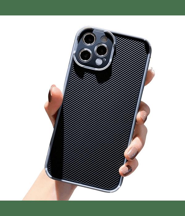Carcasa iPhone 12 Textura Resistente Borde Gris