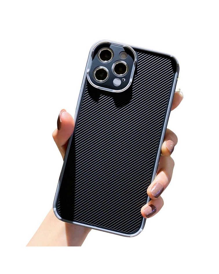 Carcasa iPhone 12 PRO MAX Textura Resistente Borde Gris