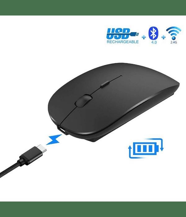 Mouse Inalámbrico Bluetooth recargable silencioso Negro