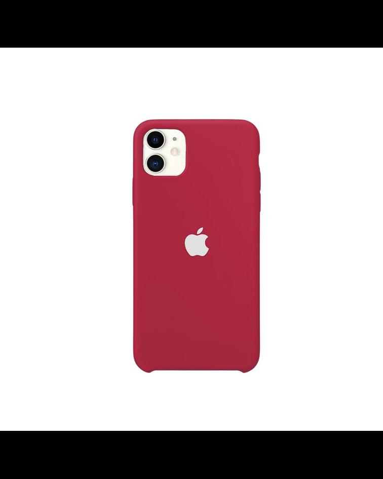 Carcasa Silicona iPhone 11 Rojo Logo Plateado
