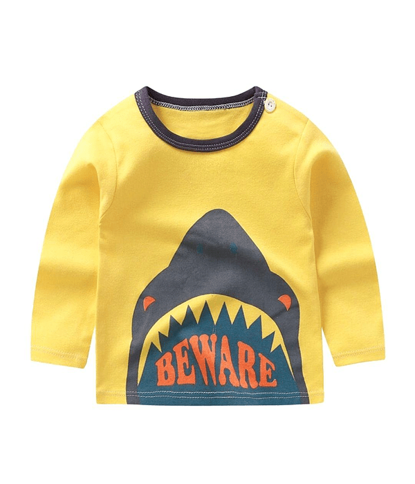 Polera Manga Larga Niño Tiburon Amarilla Tallas
