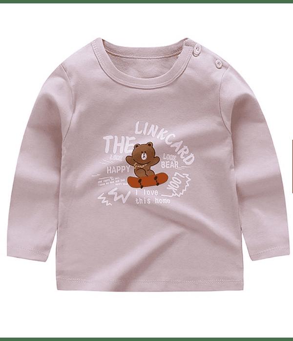 Polera niña Manga Larga 2 años oso rosada