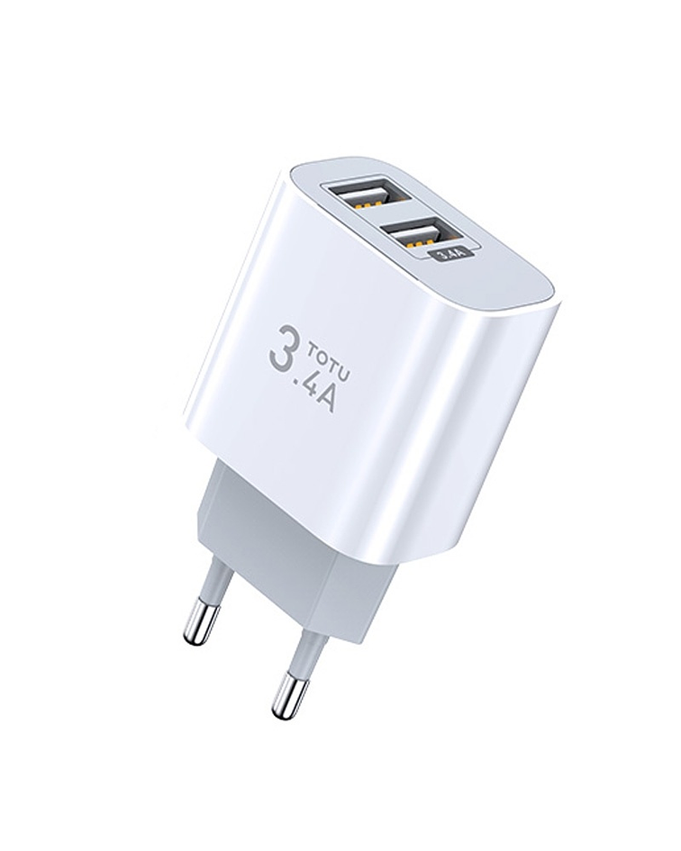 Cargador USB 3.4A 2 puertos carga Rápida