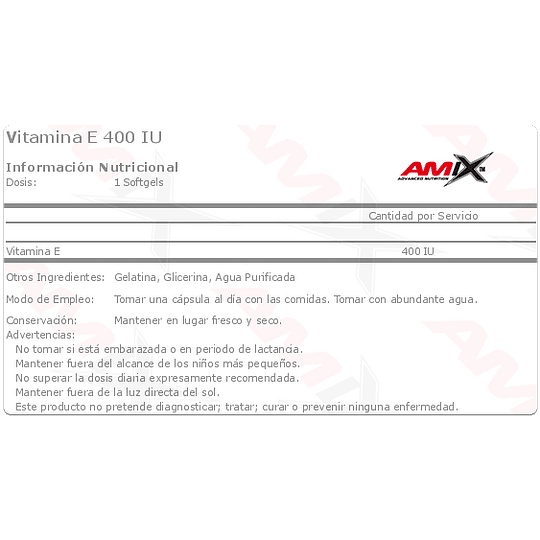 Vitamin E 400 100 Caps. Amix  - Image 2