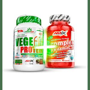 Pack Natural - Proteína  Vegefiit 720 Grs + B Complex + vit C y E