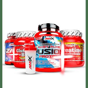 Pack Premium - Fusion whey 5.1 lb + Creatina 300 gr + Glutamina + bcaa 530gr + Zma + Shaker Amix