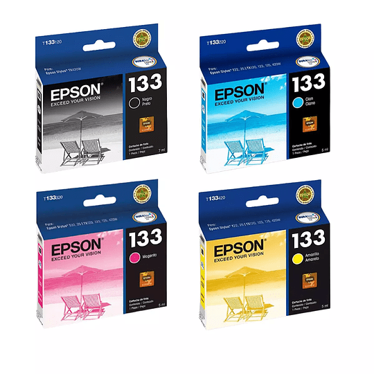 Tintas Epson T 133 Pack 4 Colores
