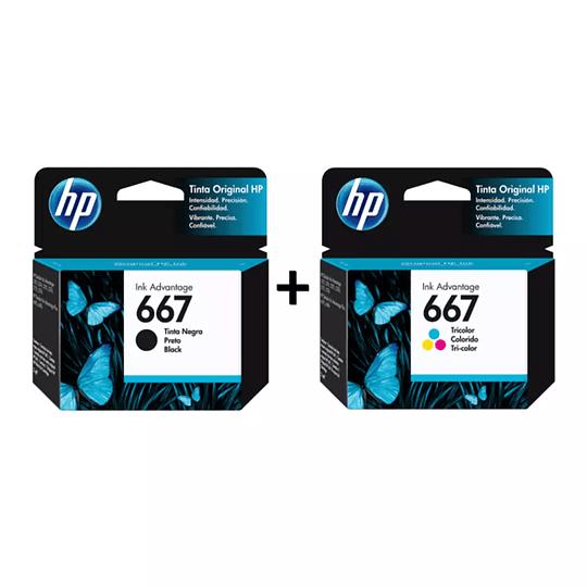 Pack de Tintas HP 667 Negro y 667 Tricolor Originales