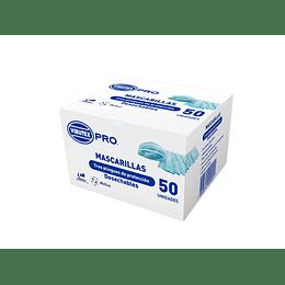 MASCARILLA 3 PLIEGUES C/ELASTICO 50 UNID VTX PRO