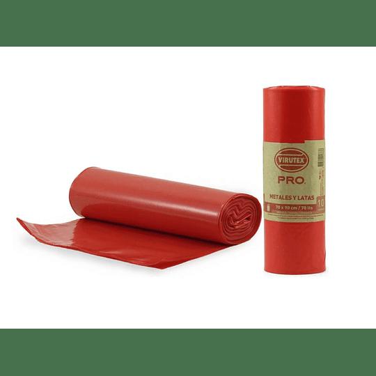 BOLSA BASURA 70X90 (10 UN) ROLLO VTX ROJA