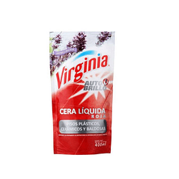 CERA LIQUIDA ROJA A/BRILLO PLASTI 400ML VIRGINIA