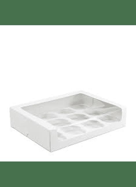 Caja para cupcakes blanca con ventana 12 cavidades