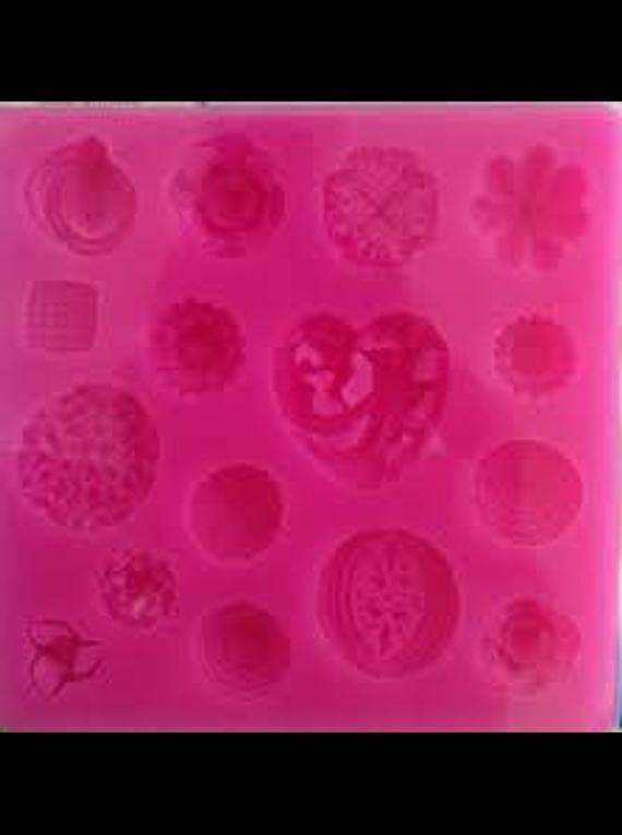 Molde silicón flores y corazones para fondant